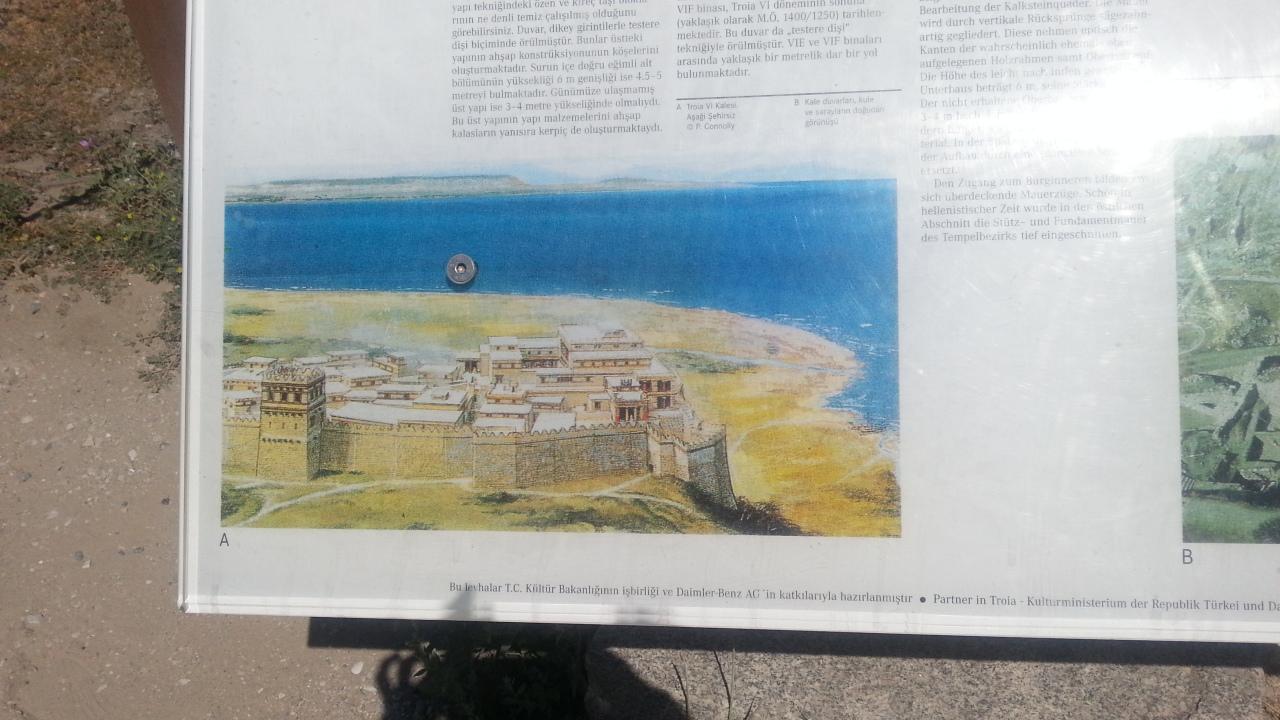 トルコのトロイ遺跡13世紀海岸線の看板